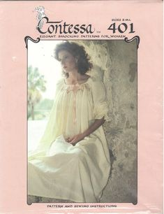eb4b901283 Contessa 401 1980s Ruffled SMOCKED Nightgown Pattern Waltz Length Scoop  Neckline Womens Vintage Sewing Pattern S M L