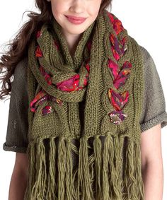Olive Cable-Knit Floral Scarf@@Shandra L