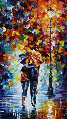 Rain Painting - Bonded By Rain 2 by Leonid Afremov Rain Painting, Oil Painting On Canvas, Knife Painting, Abstract Canvas, Canvas Art, Umbrella Art, Umbrella Painting, Acrylic Art, Beautiful Paintings