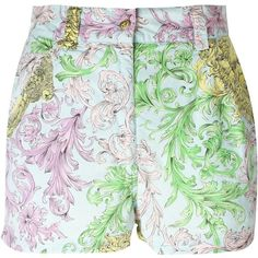 Versace Vintage WOMAN Printed Shorts ($271) ❤ liked on Polyvore featuring shorts, zipper shorts, versace, versace shorts, multi colored shorts and colorful shorts