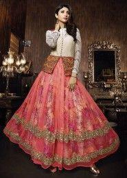 Party Wear Net Peach Antique Work Gown