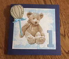"""Darkroom Door teddy stamp from """"Hello Baby"""" rubber stamp set - great detail in this stamp"""