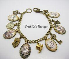 Alice In Wonderland Charm Bracelet, Alice Bracelet, Book, Literary by freakchicboutique on Etsy