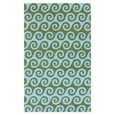 Bring breezy style to your patio or veranda with this hand-hooked rug, featuring an eye-catching wave motif in sky blue and peridot hues.