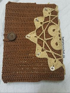 Crochet book cover Crochet Book Cover, Crochet Books, Bible Covers, Bookmarks, Burlap, Reusable Tote Bags, Handmade, Hand Made, Hessian Fabric
