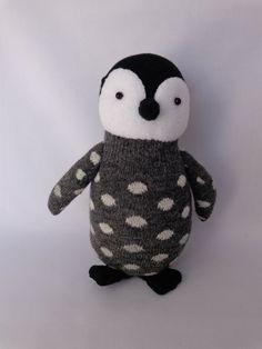 Emperor Penguin Chick Plush Toy, Penguin Stuffed Animal, Penguin Stuffed Doll, Sock Monkey