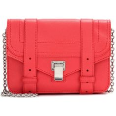 Proenza Schouler PS1 Chain Leather Clutch (3 180 PLN) via Polyvore featuring bags, handbags, clutches, red, red handbags, chain purse, real leather purses, leather handbags i genuine leather handbags