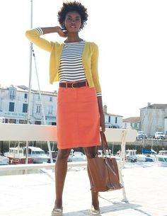 Coral, mustard + stripes-cute outfit for spring! by kleovang Coral Pants, Coral Skirt, Orange Skirt, Fashion Line, Work Fashion, Spring Fashion, Fashion Shoes, Navy Dress Outfits, Cute Outfits