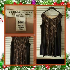 👠👗Womans Black Dress Size 20W 👗👠 ❌FINAL❌ This is a gorgeous knee length dress that's black lace and cream underneath very flowy and comfortable would look great with a shawl or shrug just add black heels and jewels you'll be ready for the holidays or a date night out on the town. I personally wore this last christmas for less then 4 hours with the heels in another listing. Excellent Like New Condition 🚫 NO TRADES 🚫 NO PayPal 🚫 NO OFFERS ACCEPTED PRICE IS FINAL 👗👠 London Style…