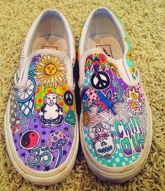 Items similar to Customized Vans! on Etsy Painted Canvas Shoes, Custom Painted Shoes, Painted Vans, Painted Sneakers, Hand Painted Shoes, Customised Vans, Custom Vans Shoes, Sharpie Shoes, Vans Shoes Fashion