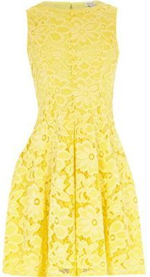 b046316392 River Island Girls yellow lace floral dress - ShopStyle