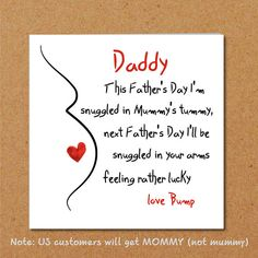 Father's Day Card for new Dad/ partner from bump / unborn #fathersday #card #baby #pregnant