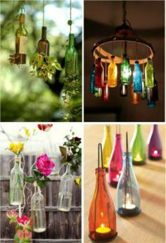 Diy lighting with reused glass bottles. Indoor and outdoor ideas