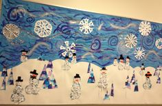 Snow bulletin board...winter trees, snowmen, paper snowflakes, and poems written on the painted swoops and swirls!