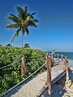 Beach boardwalk at Mayakoba on the Riviera Maya in Mexico