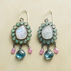 "BLOSSOM EARRINGS -- Wildflowers blooming beside Lake Casitas inspired Jes MaHarry to create these sterling silver gemstone earrings, shining with pink sapphire, topaz, chrysoprase and rainbow moonstone. USA. Exclusive. 2-1/8""L."