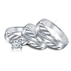 Round VVS1 Diamond 10kt White Gold GP .925 Silver Engagement Bridal Ring Set  $$ | Bridal Ring Sets, Bridal Rings And White Gold