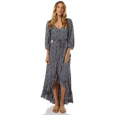 Auguste All Things Good Womens Maxi Dress (7.485 RUB) ❤ liked on Polyvore featuring dresses, blue, maxi dresses, women, mid calf dresses, button front dress, blue midi dress and rayon maxi dress