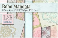 16 Distressed Mandala Textures by Lab Designs on @creativemarket