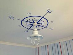 Compass light decor for my son's nautical theme bedroom. Compass light decor for my son's nautical theme bedroom. Nautical Theme Bedrooms, Nautical Bathrooms, Coastal Bedrooms, Bedroom Themes, Bedroom Sets, Nautical Home Decorating, Coastal Decor, Coastal Cottage, Coastal Homes