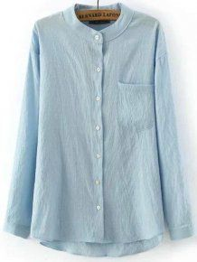 Casual Blue Stand Collar Pocket Dip Hem Blouse