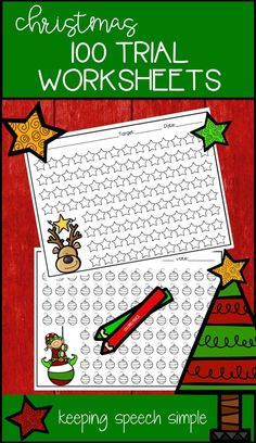 This easy Christmas speech therapy activity is a fun way to get students to participate in drill work during the holiday season. These no prep printables are a speech room must have for the busy SLP! Use these sheets to get 100 trials with your elementary speech therapy students. You can also send them home for home practice. Use with ink daubers, markers or stickers. Click here for more!