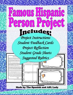 Famous Hispanohablante Research Project Oral Presentation & Creative Writing NO ESSAYS TO GRADE