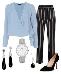 """""""Work Outfit"""" by juliacavar on Polyvore featuring Haider Ackermann, Boohoo, Manolo Blahnik, CLUSE, Effy Jewelry and Kenneth Jay Lane"""