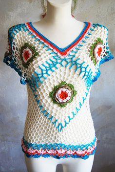stunning vtg mulicolour 3D flower hippie festival diamond crochet top Uk10