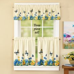 Vintage Butterfly and Flowers Curtain Set from Collections Etc.