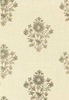 Beatrice Bouquet in Mineral by Schumacher - aqua and beige floral design on ecru fabric - adapted from an antique Indian block printed cotton