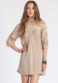 All Grown Up Lace Dress in Beige
