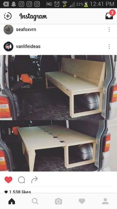 10 Camper Van Bed Designs For Your Next Van Build One of the most unique bed designs I have seen. This is perfect for a camper! I love this little van hack to make both a bed and a seat! 10 Camper Van Bed Designs For Your Next Van Build One of the most … Camping Diy, Truck Bed Camping, Minivan Camping, Camping Hacks, Tent Camping, Camping Gear, Glamping, Camping Supplies, Cool Ideas
