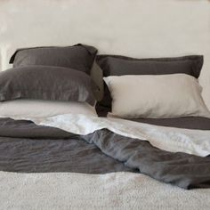 Charcoal Washed Linen Quilt Cover Queen