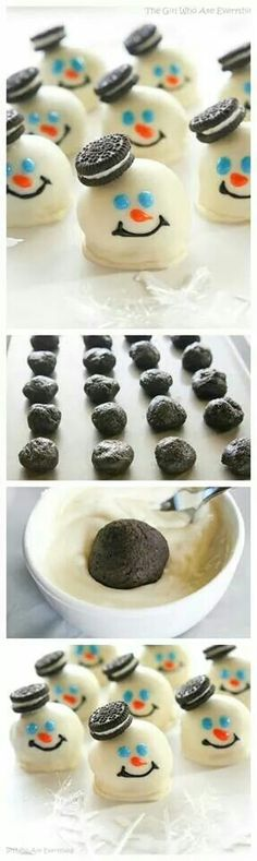 Melting snowman oreo balls