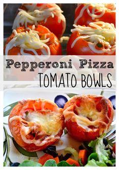 Pepperoni Pizza Tomato Bowls