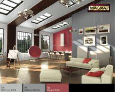 połączenie szarości i czerwieni w salonie Painting Tips, Conference Room, Divider, Table, Trendy, Furniture, Palette, Home Decor, Magick