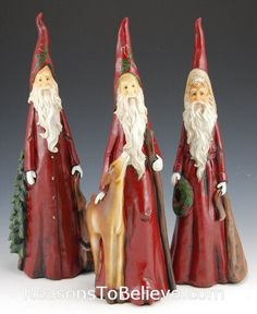 "painted cypress knees | 12"" Cypress Santa Set 
