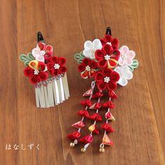ハンドメイドマーケット+minne(ミンネ) +七五三髪飾り(深紅) 2点セット ちりめん Yukata, Handmade Flowers, Cherry Blossom, Embroidery Designs, Hair Accessories, Kawaii, Japanese, Sewing, Dressmaking