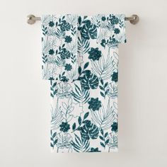 Teal Tropical Monstera Botanical White Leafs Palm Bath Towel Set Majestic Monstera Leaf products gifts and home goods featuring the giant leave called Monstera. Tropical Bathroom, Tropical Decor, Bath Towel Sets, Bath Towels, Best Bath, Glitter Gifts, Washing Clothes, Paper Goods, Home Gifts