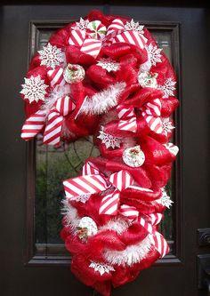 Christmas Deco Mesh Wreath , Candy Cane Wreath, Christmas Mesh Wreath, Christmas Wreath, Giant Candy Cane Decoration