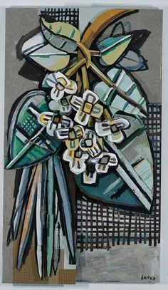 'Catalpa Branch' (2001) by American artist David Bates (b.1952). Wall relief sculpture. Wood, metal and fabric on panel, 90.5 x 52.75 x 9.25 in. via Nasher Sculpture Center