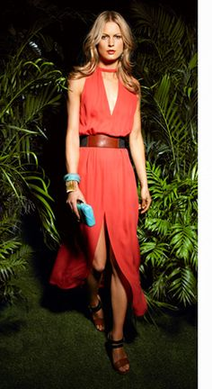 So in love with this coral color of this A.L.C. frock.  Love the belt...nice combination