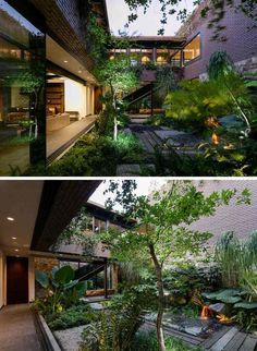 to the main living area in this modern house is an internal courtyard, filled with plants and a water feature.Next to the main living area in this modern house is an internal courtyard, filled with plants and a water feature. Patio Design, Exterior Design, Garden Design, Modern Exterior, Courtyard Design, Brick Design, Exterior Paint, Internal Courtyard, Interior Garden