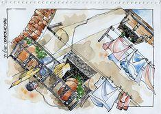 JR Sketches: Italia 5º Set 2012. 17x24, Pen & Watercolor                                                                                                                                                      Más