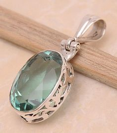 Green Quartz .925 Sterling Silver Jewelry Pendant 1.4""