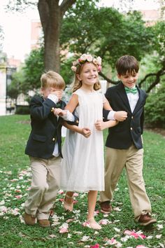 The more precious flower girl and ring bearers! #flowercrown #bowties | Photo Credit: Riverland Studios