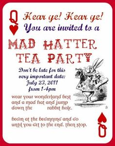Mad hatter invitation design alice and wonderland ideas how fun ive wanted to plan a a mad hatter tea party with hats for the longest time stopboris Gallery