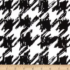 Bloom Stretch Cotton Sateen Houndstooth Black #fabric #sewing
