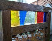 Garden Decor, Garden Screen With Stained Glass, Garden Art